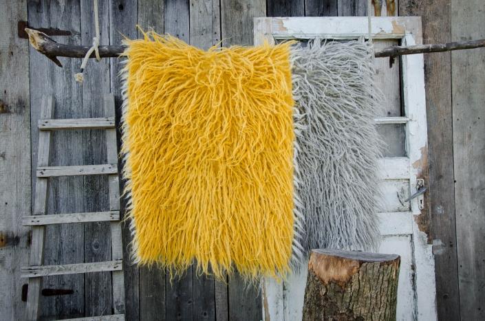 Long Wool - ocher   light gray   WOL