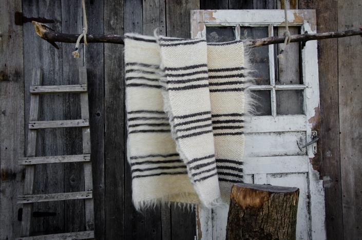 Short wool   striped - black/white   WOL