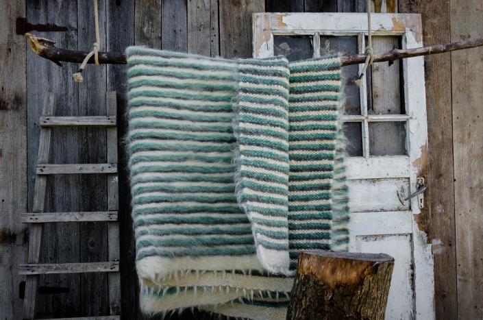 Short Wool   striped - green   WOL